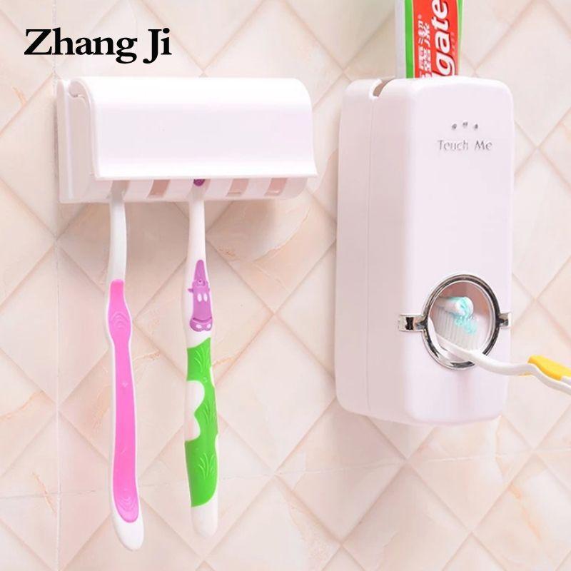 Zhangji porte-brosse à dents distributeur de dentifrice automatique support mural salle de bains dentifrice ensemble de presse-agrumes