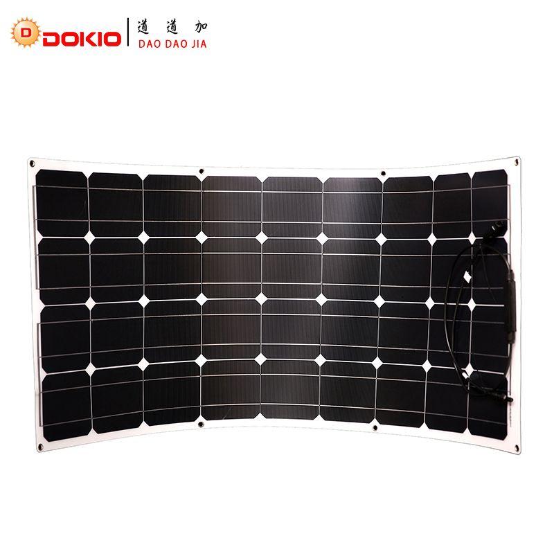 Dokio Brand Solar Panel <font><b>100W</b></font> Monocrystalline Solar Cell Flexible for Car/Yacht/Steamship 12V 24 Volt 100 Watt Solar Battery