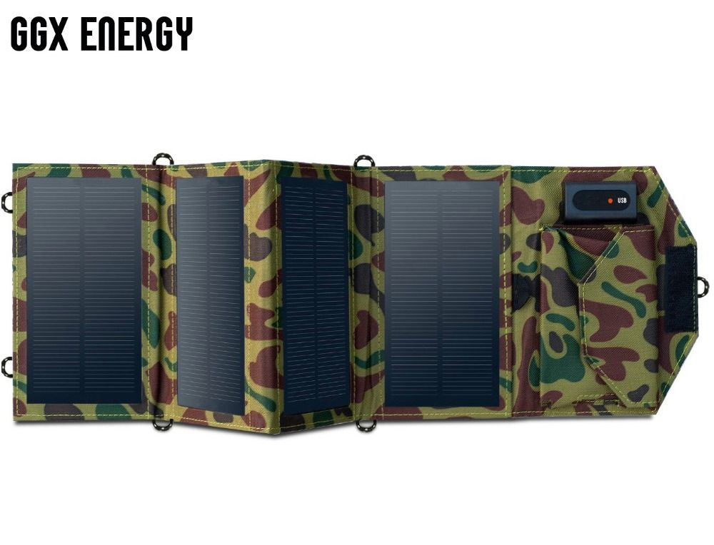 GGX ENERGY 7.2W Portable Solar Charger for Mobile Phone iPhone Folding Mono Solar Panel+Foldable Solar USB Battery Charger