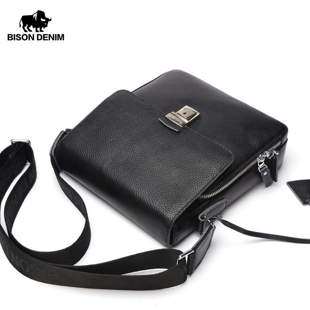 BISON DENIM Genuine Leather Men Bag Shoulder Strap Cowskin Casual Business Messenger Bag For Male Black Bags N2531