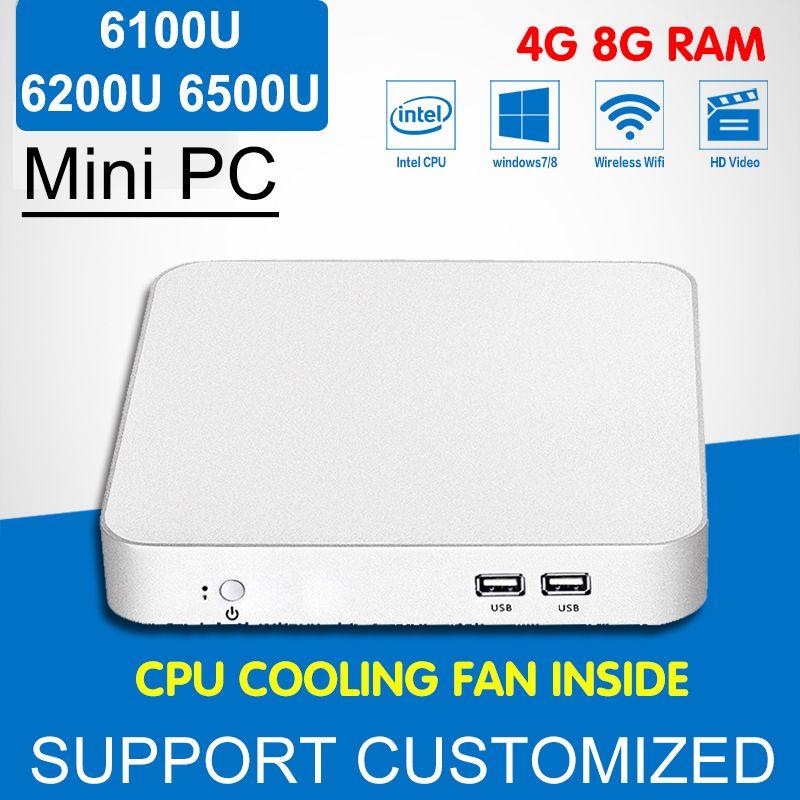 Intel Core i3 CPU 6100U Mini PC Enfriador Ventilador de Escritorio del Ordenador Mini Windows 10 Intel i5 i7 6500U 6200U 6Gen HD Graphics 620 4 K HTPC