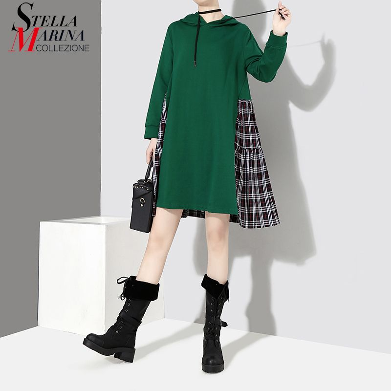 New 2018 Korean Style Women Green Hooded Dress With Plaid Part Patchwork Long Sleeve Girls Cute Wear Midi Dress robe femme 7180