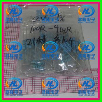 210 PCS/lot 2 W 21valuesX10pcs = 210 pcs 100R ~ 910R Metal Film Resistor Kit Résistance Pack 1% échantillons psck assorties Kit