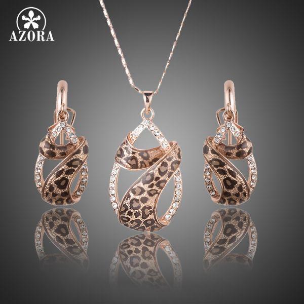 AZORA Rosa de Color de Oro Cristales Austríacos de Hermanamiento Con Leopard Riband Water Drop Pendientes y Collar de La Joyería Sets TG0194