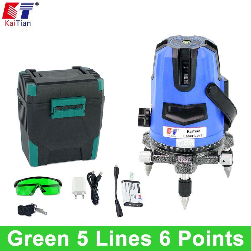 KaiTian 5 Lines 6 Poins Laser Level Green Light Tilt Function 360 Rotary Vertical Horizontal Self Leveling Laser Line Battery