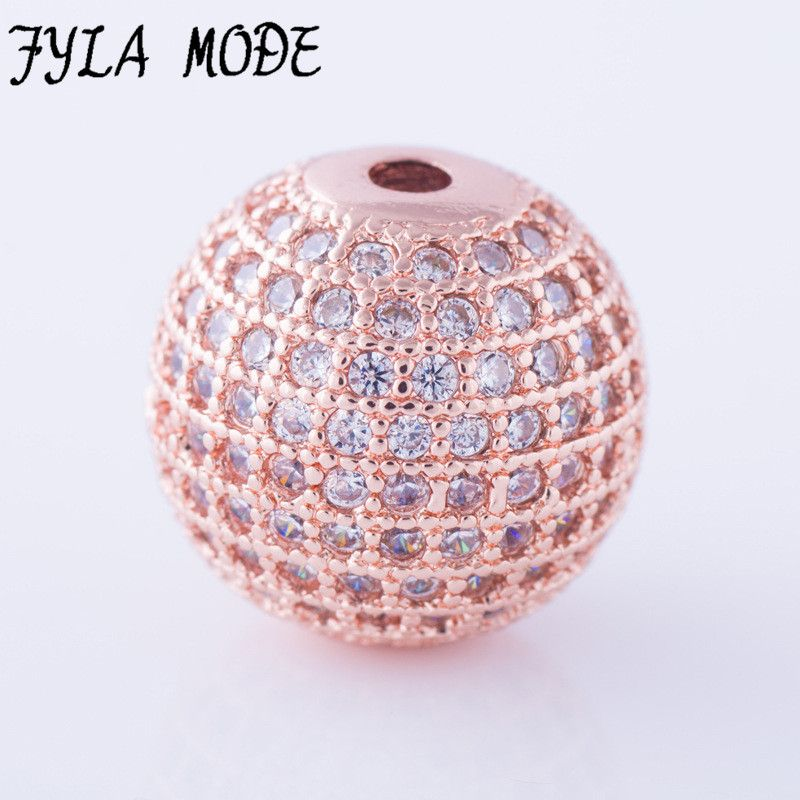 Fyla Mode Rose Gold Plated 14mm CZ Brass Metal Micro Pave Cubic Zirconia Disco Ball Round Spacer Beads Roudium/Rose Gold/Gold