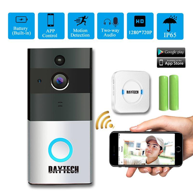 DAYTECH Sans Fil WiFi Vidéo Sonnette Caméra IP Anneau Porte cloche Étanche Deux Voies Audio APP Contrôle iOS Android Batterie Alimenté
