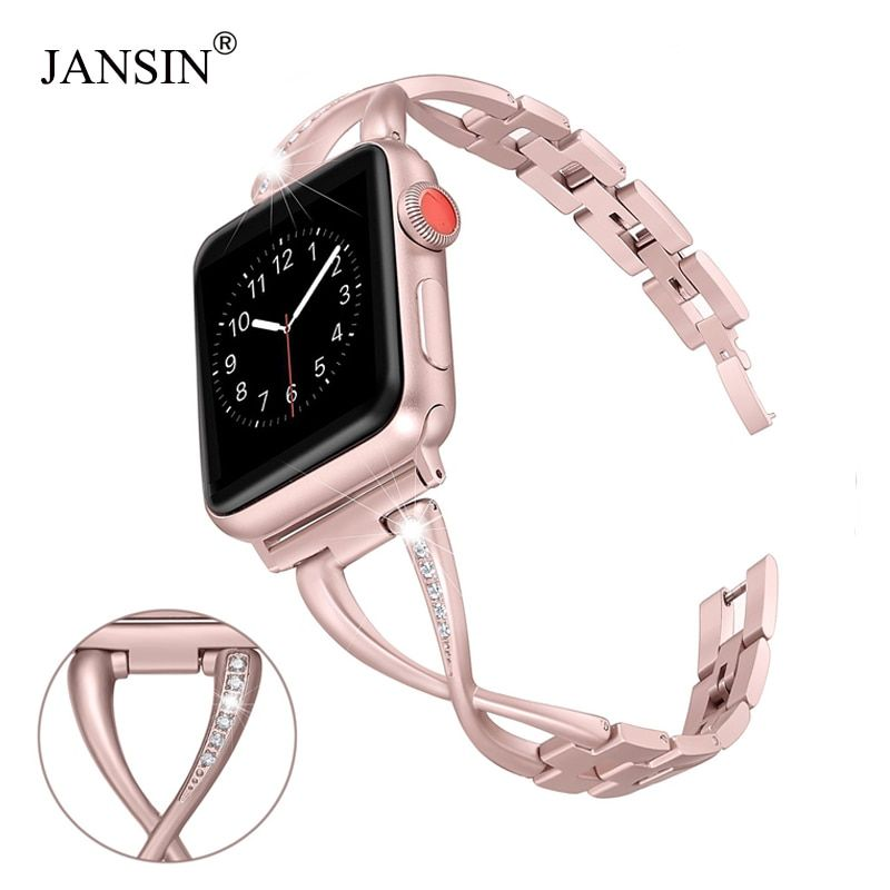 JANSIN femmes Bracelet de montre pour Apple bracelets de montre 38mm/42mm/40mm 44mm diamant acier inoxydable Bracelet pour iwatch série 4 3 2 Bracelet