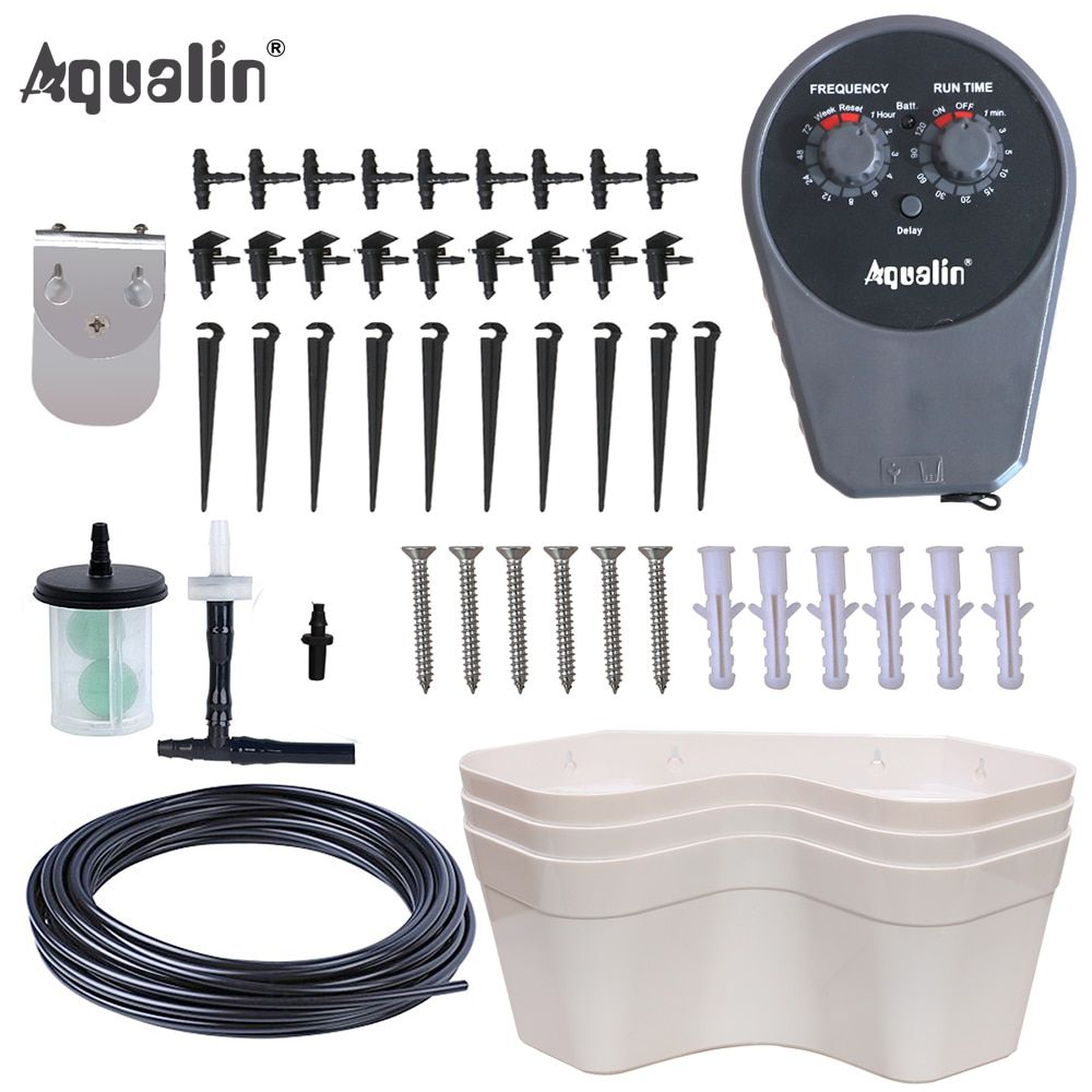 Aqualin Garden Pump Drip Irrigation Set with 3 Portable Flowers Pots Bonsai Garden Water Timer Watering Kit #22077I