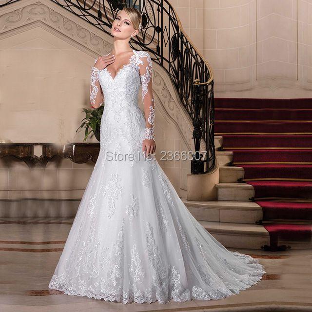 Vestido De Noiva Princesa Long Sleeves Mermaid Wedding Dresses 2018 Lace Appliques Pearls Wedding Gowns Custom Made Bride dress
