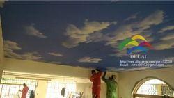 S--5122 azul cielo impresión pvc de techo con lámpara led en la sala similar función como panel de techo