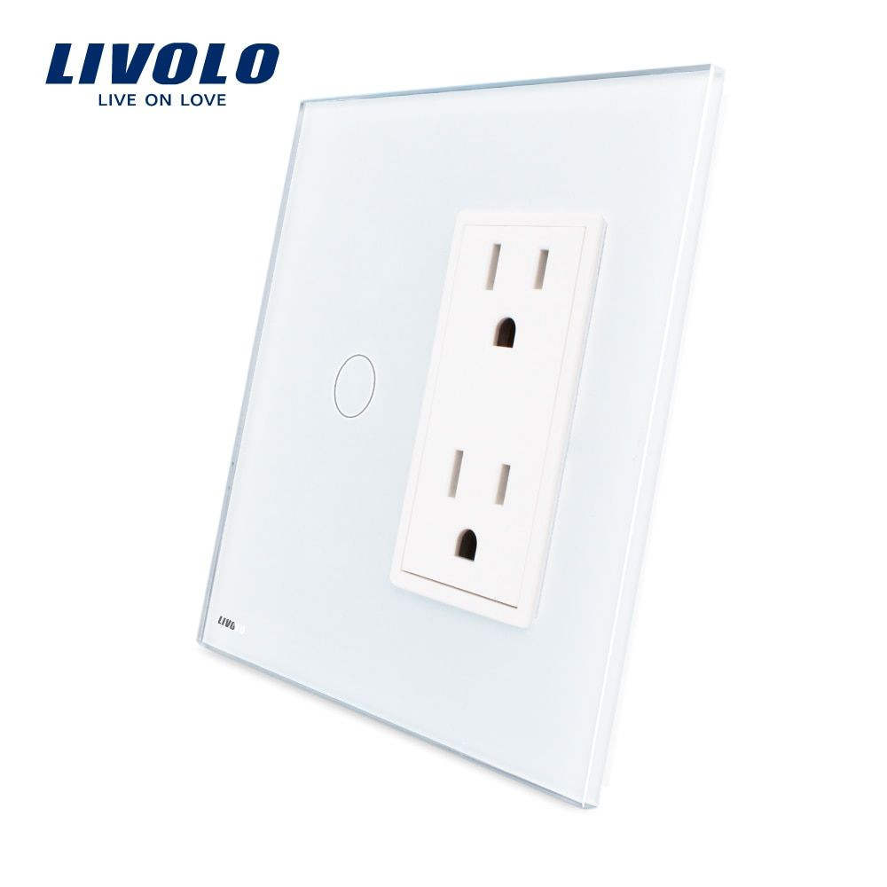 Livolo US standard Vertical Luxury White Crystal Glass, 1Gang + US Socket(15A), VL-C501-11/VL-C5C2US-11