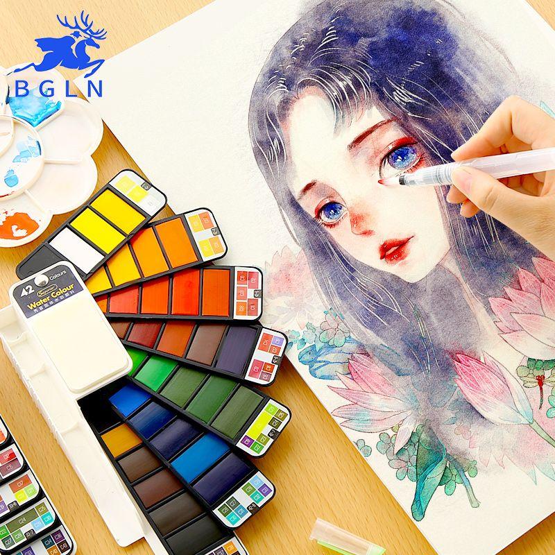 BGLN ensemble de peinture à l'eau solide Portable avec pinceau de couleur vive ensemble de pigments de peinture à l'aquarelle pour fournitures d'art pour étudiants