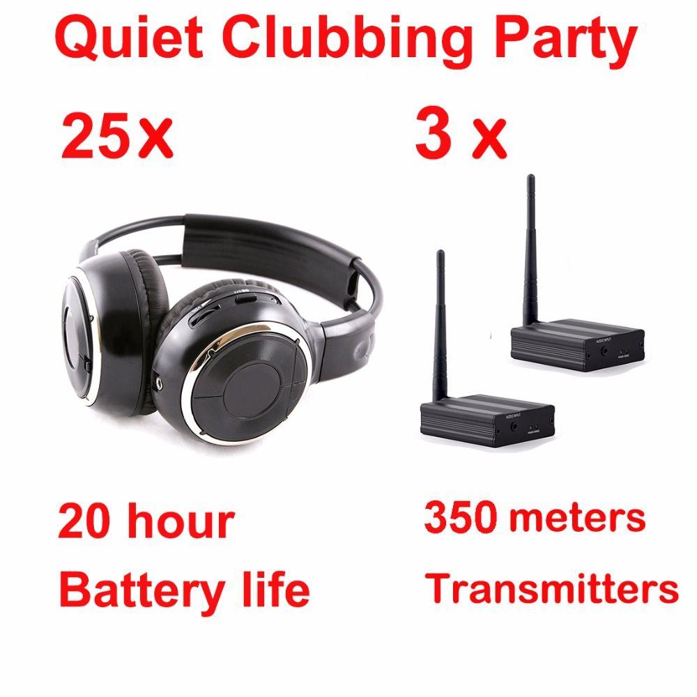 Silent Disco kopfhörer ausrüstung schwarz faltbare drahtlose kopfhörer-Silent Partei Bündel (25 Kopfhörer mit 3 Sender)