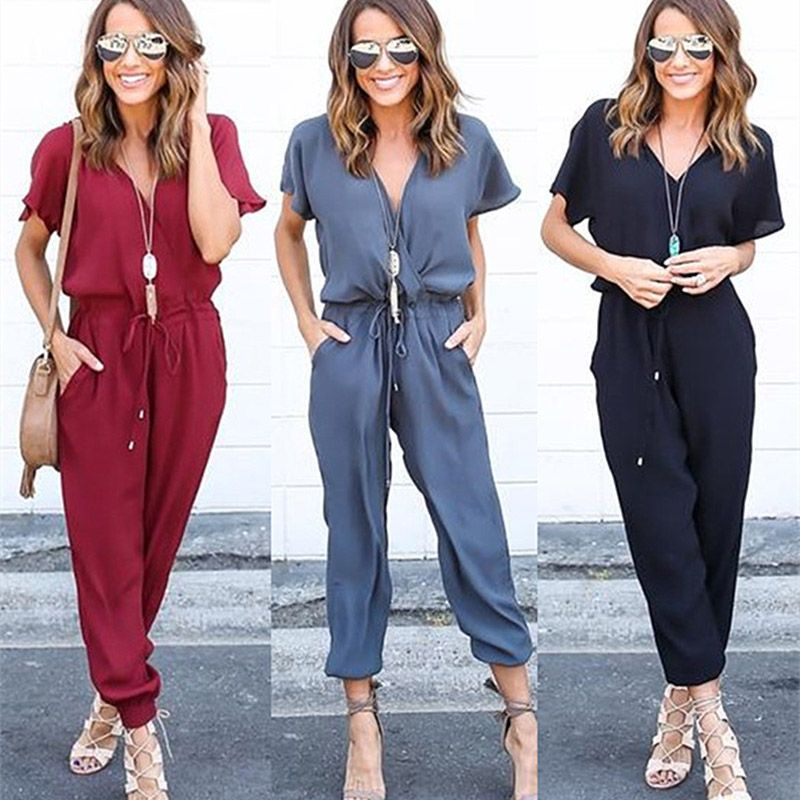 Fashion Summer Fall Women Sexy Jumpsuits Short Sleeve V Neck Crossed Solid Color Drawstring Romper Ladies Jumpsuit H9