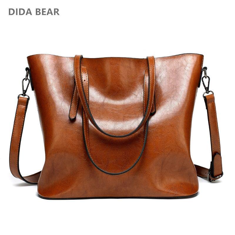 DIDA BEAR Brand Women Leather Handbags Lady Large Tote Bag Female Pu <font><b>Shoulder</b></font> Bags Bolsas Femininas Sac A Main Brown Black Red