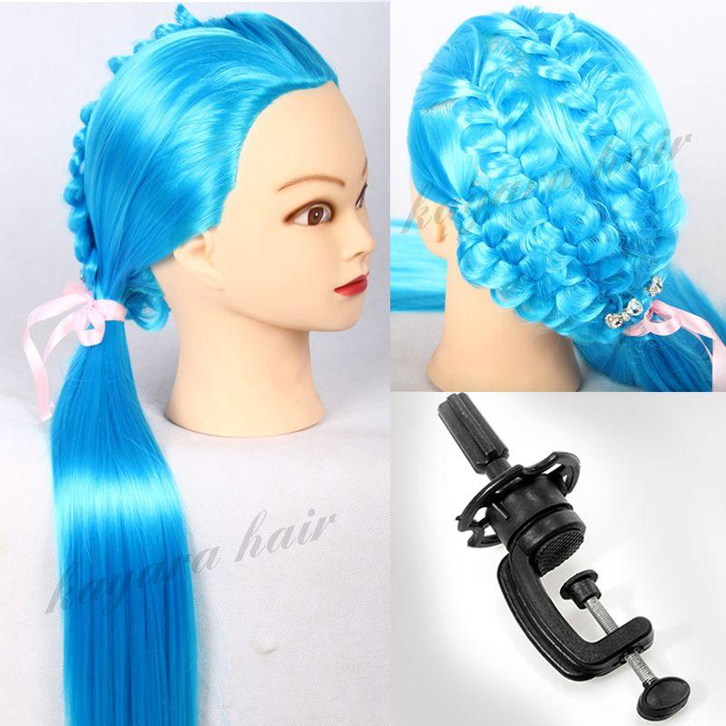 Tête de Mannequin de cheveux Yaki bleu 22 ''tête de coiffure professionnelle pour coiffeur Mannequin Mannequin support de poupée perruque tête d'entraînement + support