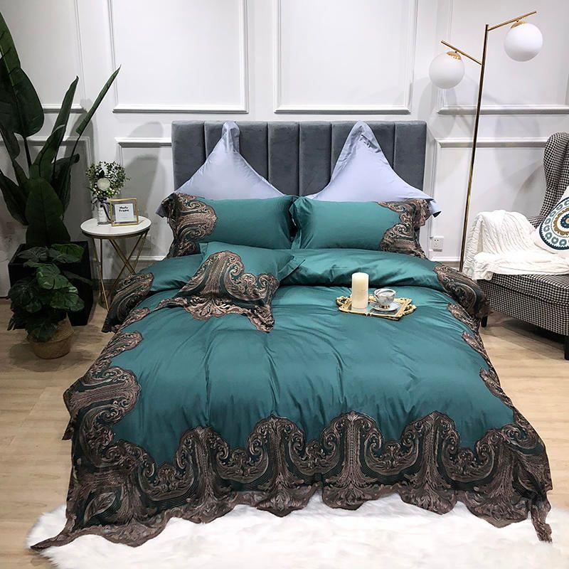 Ägyptischer Baumwolle Ultra Soft Seidige Bett Sets Shabby Spitze Bettwäsche Set für Mädchen bettlaken set Kissen shams 4 Stück königin König größe