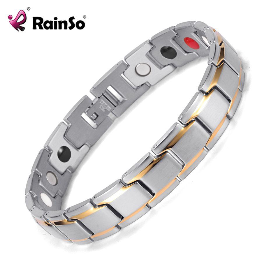 Rainso Stainless Steel Bio Energy Bracelet Fashion Health FIR Bangle Magnetic Jewelry Bracelets Hologram Wristband