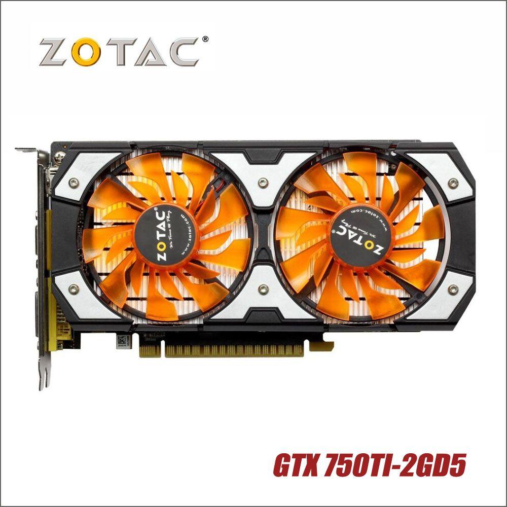 Cartes graphiques d'origine ZOTAC GTX 750Ti-2GD5 GDDR5 d'occasion pour nVIDIA GeForce GTX750 Ti 2 GB GTX 750 TI 2G 1050ti Hdmi