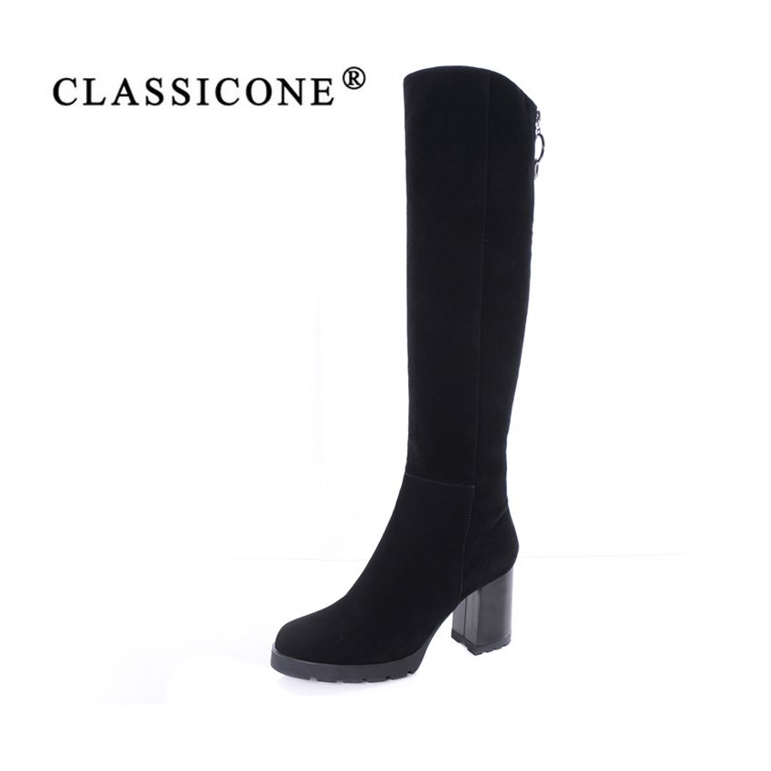 CLASSICONE women's shoes knee-high boots genuine leather suede warm wool high heels boots fur snow boots women brand fashion