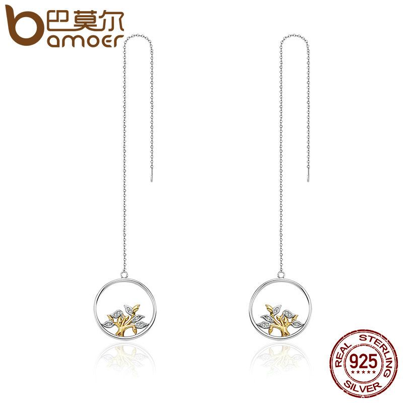 BAMOER 100% 925 Sterling Silver & Gold Circle Tree of Life Tassel Drop Earrings for Women Authentic Silver Jewelry Gift SCE076