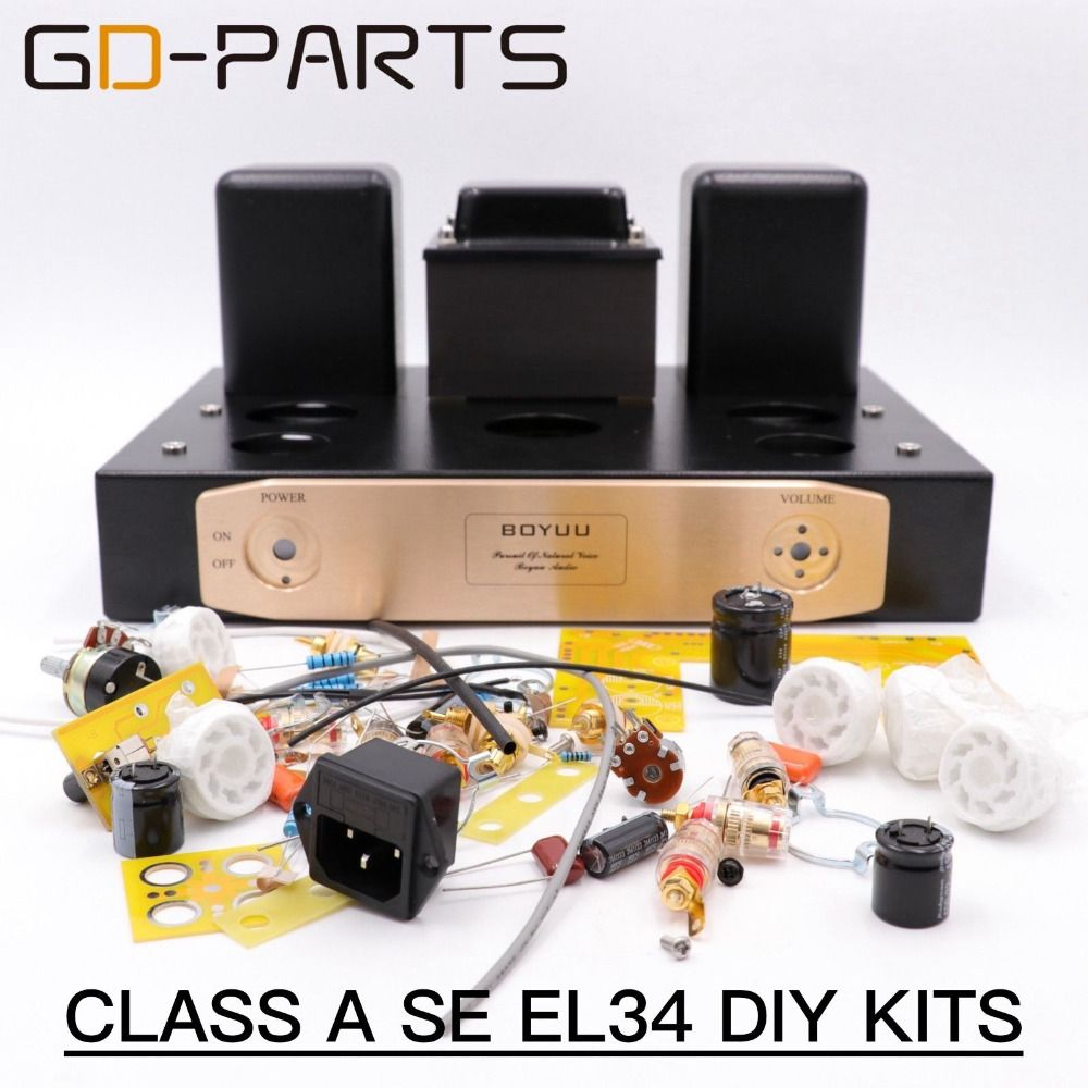 Hifi Tube Amplifier DIY Kits Class A Single End EL34 Tube Integrated Amplifier Vintage Tube audio AMP Hand Wired 1set