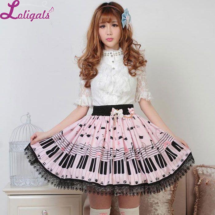 Douce Lolita jupe courte mignon Piano clé et mélodie imprimé jupe d'été pour les femmes