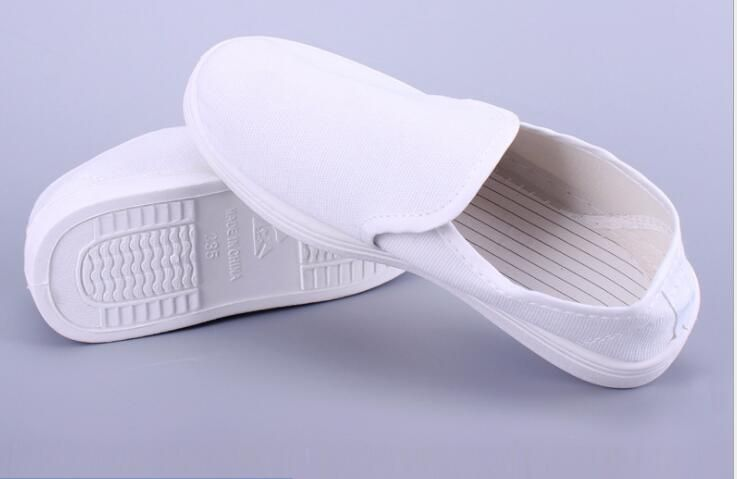 Anti static PVC-SLL- blue canvas full shoes white dustless clean working protective shoes