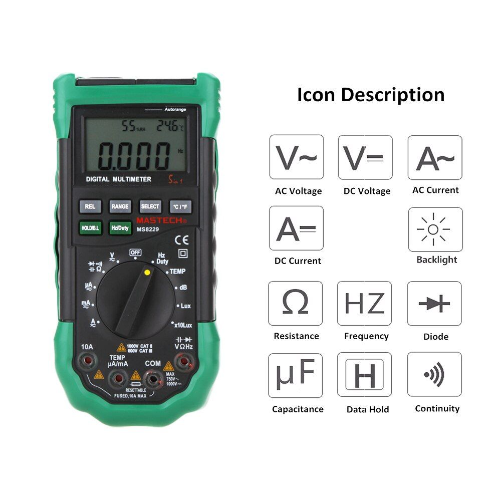 Mastech MS8229 5 in1 Auto range Digital Multimeter Multifunction Lux Sound Level Temperature Humidity Tester Meter