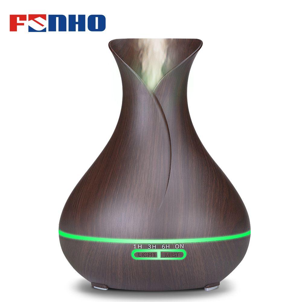 FUNHO 400 ml Bois Grain Air humidificateur diffuseur d'arôme huile essentielle Diffuseur Humidificador 7 led Changement de Lumière de Nuit pour La Maison 217