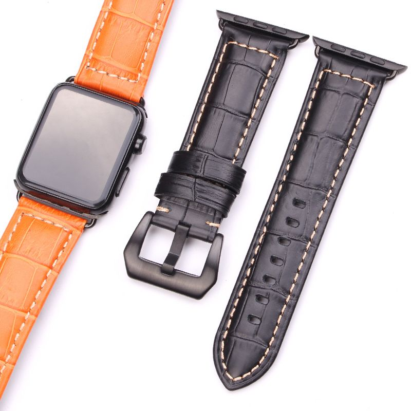 HENGRC Watchbands Thick Genuine Leather For Iwatch Apple Watch Band Strap 3 <font><b>Colors</b></font> Link Bracelet With Adapter 38mm 42mm