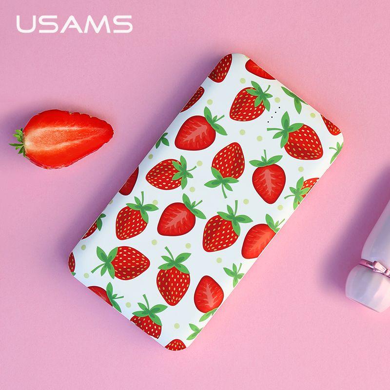 USAMS 10000 mah Power Bank Obst Dual USB Power Tragbare 5 v 2.1A Schnelle 10000 mah Telefon Externe Batterie LED für iPhone Samsung