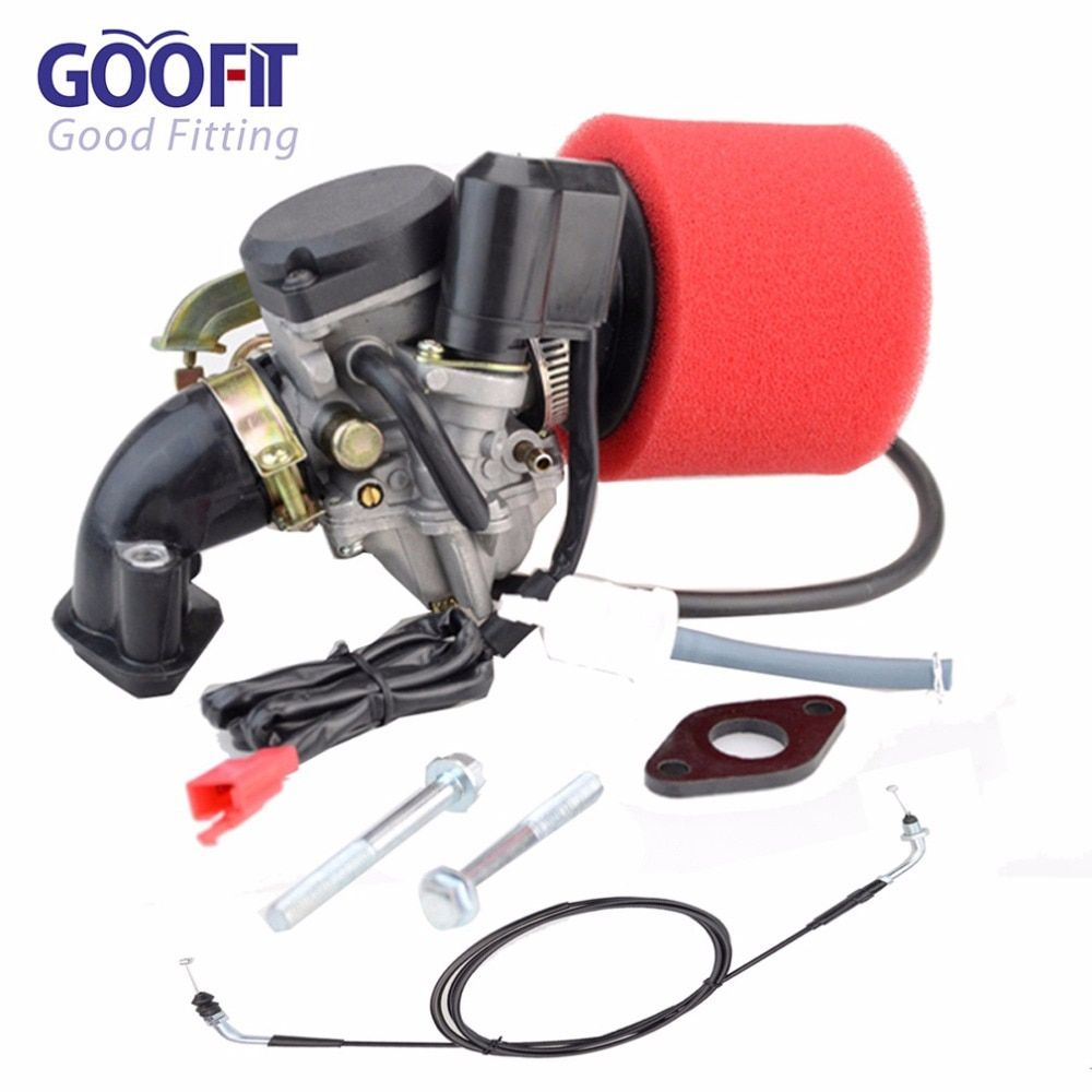 GOOFIT Carburetor Air Filter Intake Maniold Throttle Cable for GY6 50cc Scooter Go Karts Moped P038-436