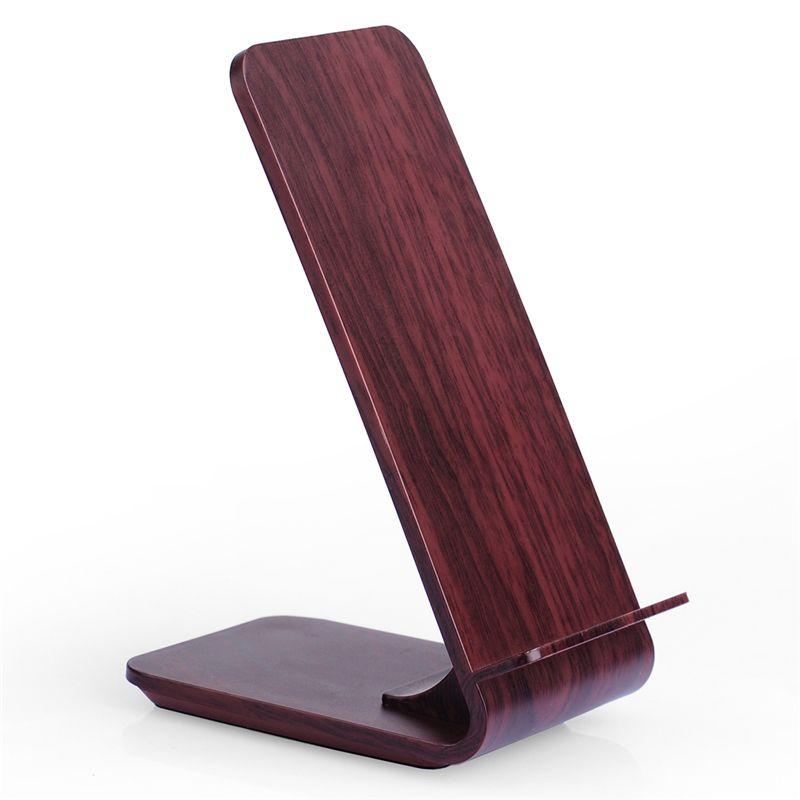 A8 Holzmaserung Ständer Drahtlose Tragbare Ladegerät für Samsung S8/S8 +/S7/S7 rand/Note5/S6 rand + Qi Wireless-ladegerät