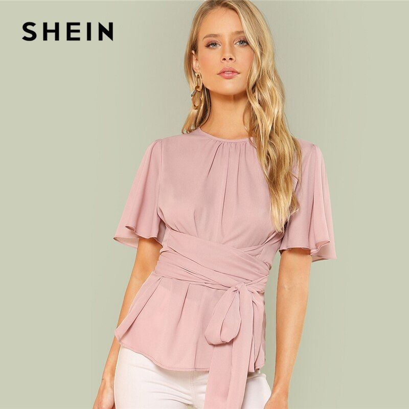 SHEIN Pink Weekend Casual Pleated Front Self Belted Round <font><b>Neck</b></font> Short Sleeve Solid Blouse Summer Women Going Out Shirt Top