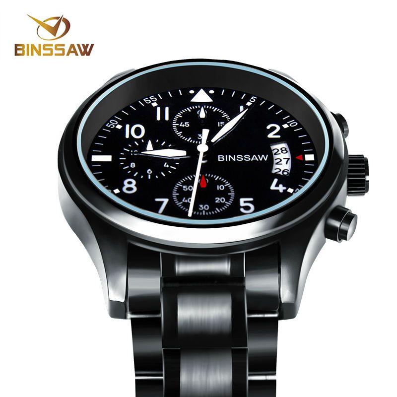 Binssaw Для мужчин Элитный бренд кварцевые часы Нержавеющаясталь Водонепроницаемый световой Спорт Часы Топ Мода Бизнес Relogio Masculino