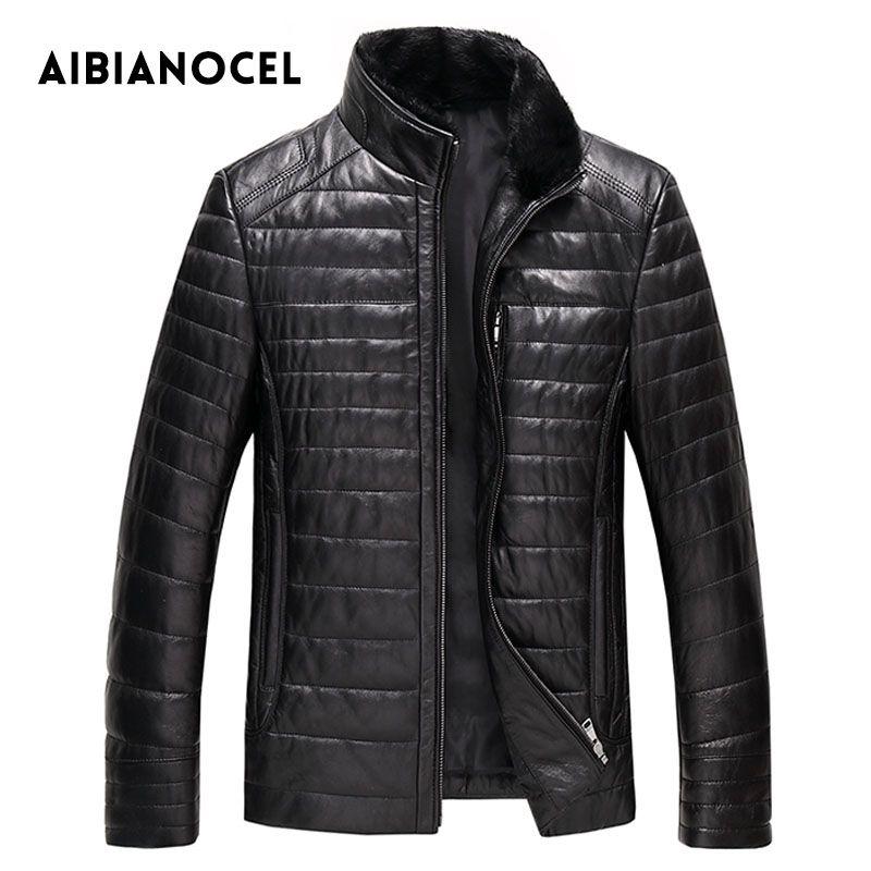 AIBIANOCEL Winter Genuine Leather Coat Men Fashion Leather Down Coat Men's Leather Coat Thick Real Leather Shepskin Coat 52103