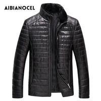 Aibianocel invierno Cuero auténtico coat hombres moda cuero Abrigos de plumas abrigo de cuero de los hombres capa gruesa de cuero real shepskin 52103