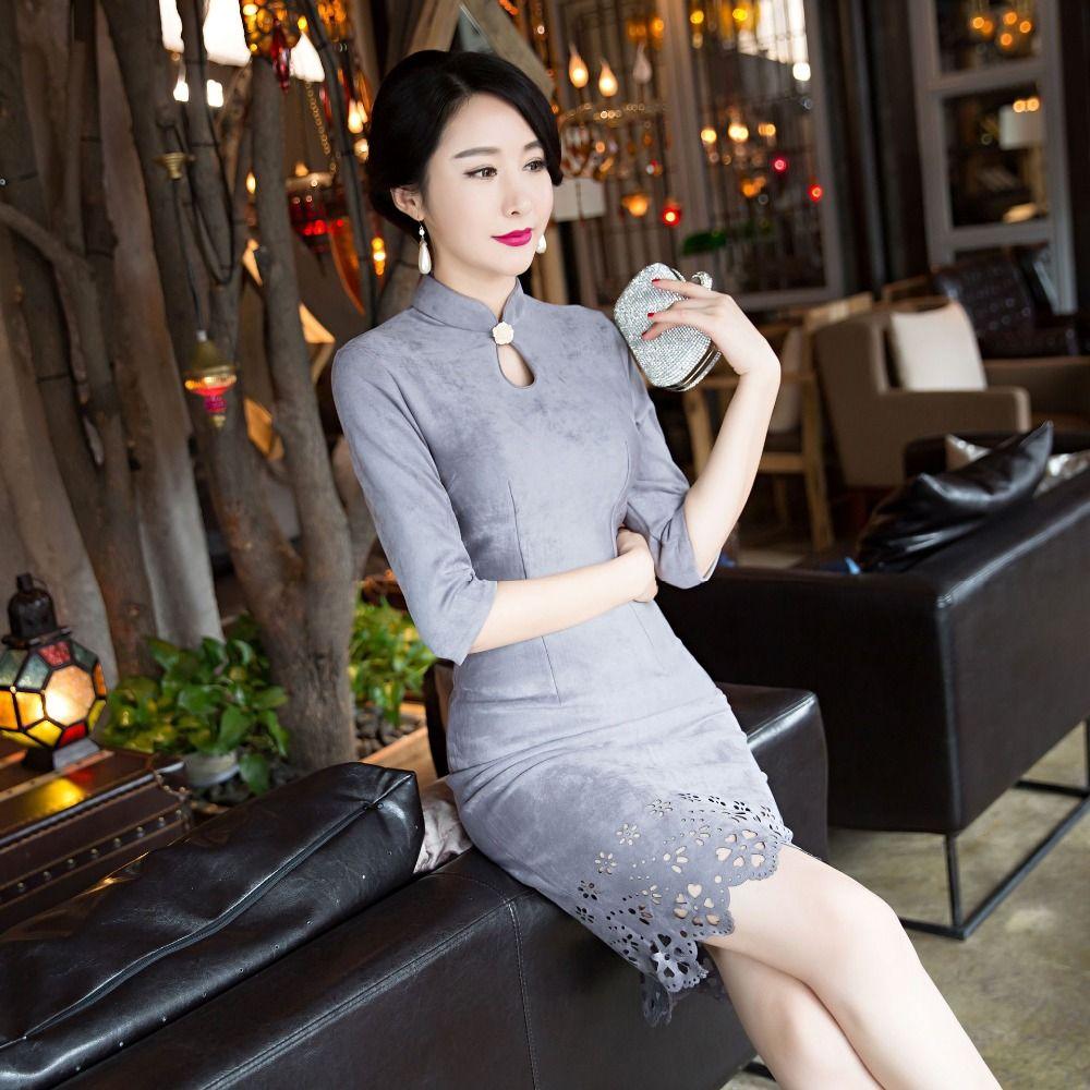 New Arrival Fashion Short Suede Women Cheongsam Dress Chinese Ladies Elegant Qipao Novelty Sexy Dress Size M L XL XXL 3XLF103028