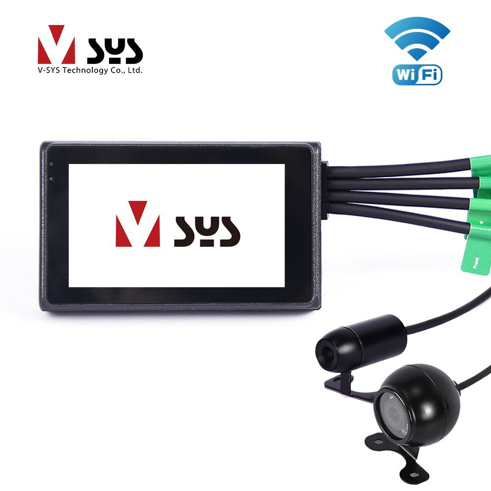 VSYS Motorcycle Camera Recorder DVR Dash Cam Night Vision M2F WiFi with Dual 1080P Full HD Front & Rear View Lens, GPS Track
