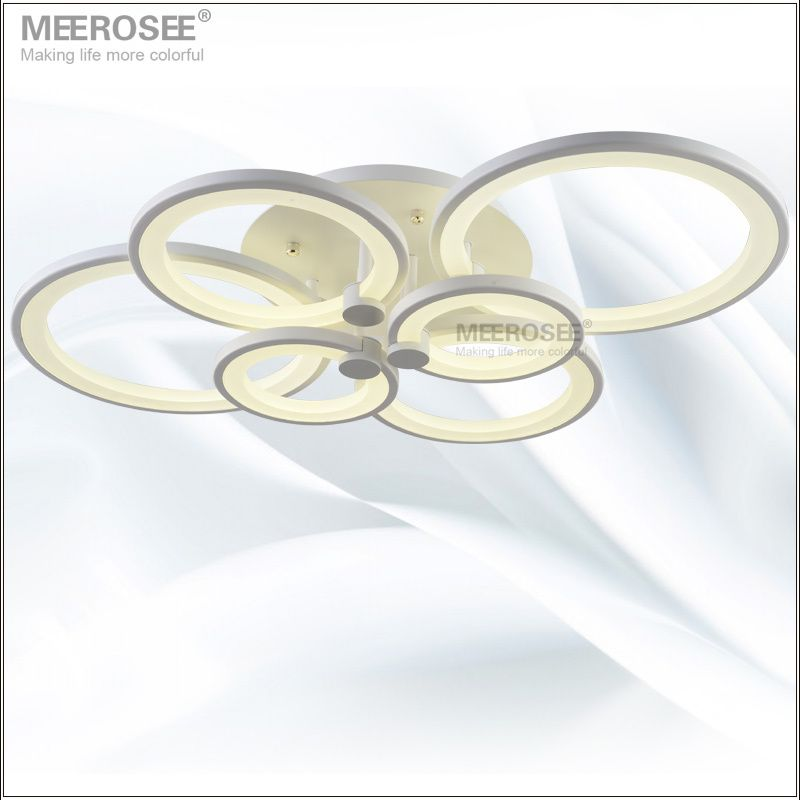 White LED Ring Light Fixture LED Chandelier Lustre Light Large Flush Mounted LED Circles Lamp for dining sitting bedroom