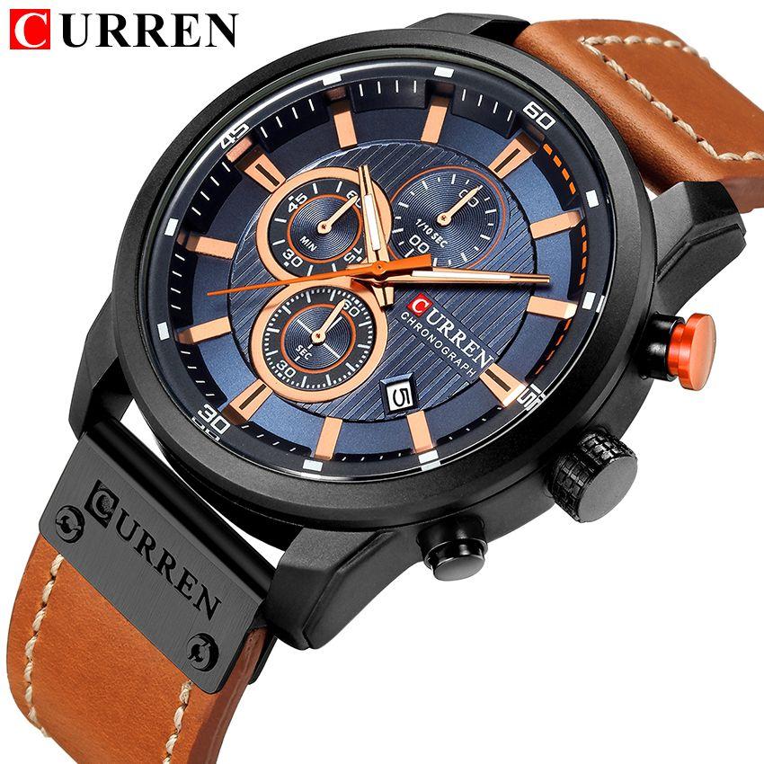 CURREN Clock Men Casual Business Watches 2018 Top Brand Luxury Leather Strap Chronograph Date erkek kol saati Quartz-Watch