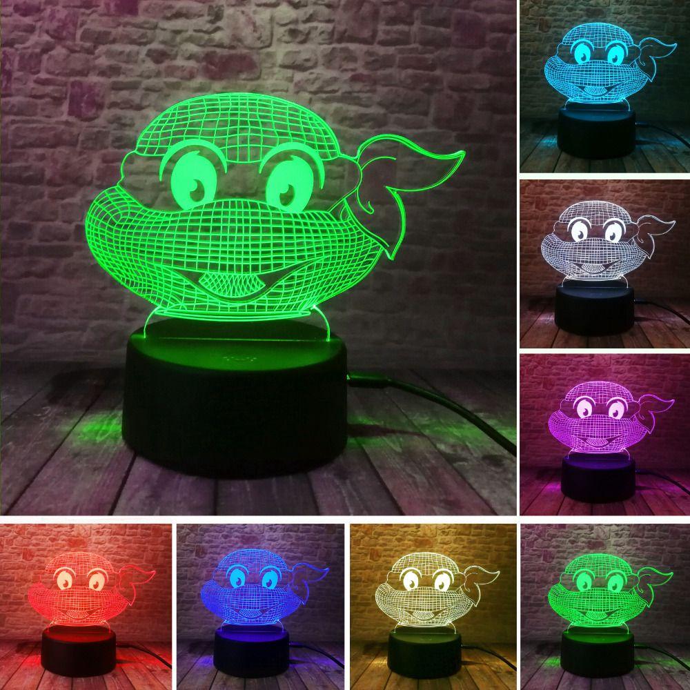 Ninja tortues 3D USB Led veilleuse 7 couleurs changeante noël humeur lampe tactile enfants salon/chambre table/bureau éclairage cadeaux