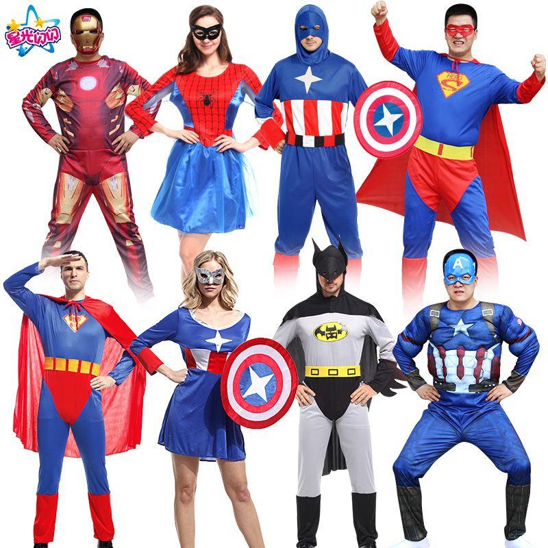 Бесплатная доставка noenname Cosply Костюм Взрослый паук Бэтмен Супермен Капитан Америка Одежда Железный человек костюм Мстители Альянс