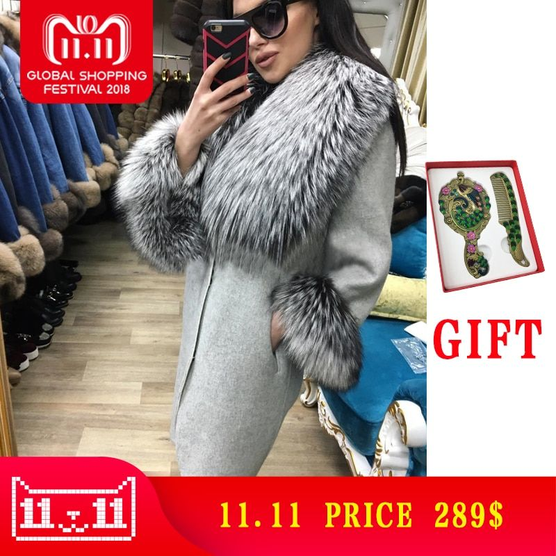 Hot Sale Cashmere Coat Women Sleeve Collar Natural Real Fox Fur Loose Genuine Leather Jacket Women Overcoat Real Fur Coat