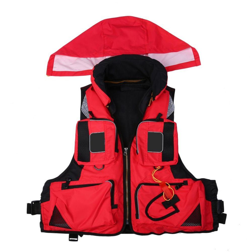 Multi Bags Eye-catching Oversized Buoyancy Fishing Lifejacket Reflective Stripe Detachable Cap Breathable Aid Saving Vest new