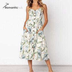 8 color nuevo estilo Boho espagueti vestidos largos botón decorado imprimir vestido mujeres Off-hombro más tamaño Beach Party sundress