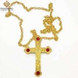 18 K Emas/Perak Berlapis Silang Liontin Gereja Ortodoks Kualitas Tinggi Modis Hiphop Franco Kalung Rantai Emas untuk Pria perhiasan