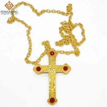 18K Gold/silver Plated cross pendants Orthodox Church High Quality Fashion Hiphop franco necklaces gold Chain for men jewelry